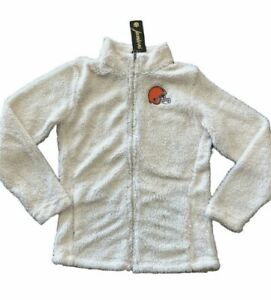 NWT$60 NFL Cleveland Browns Junior Womens Full-Zip Sherpa Jacket white Size S M