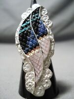 REMARKABLE VINTAGE ZUNI TURQUOISE STERLING SILVER RING NATIVE AMERICAN