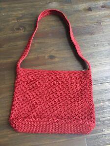 The Sak Crochet Shoulder Handbag Purse Deep Red Color EUC