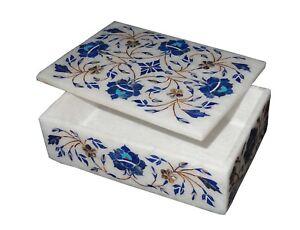 Lapiz Lazuli Marble Inlay Jewelry Box Indian Handicraft Gifts Decorative Item