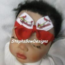 St Louis Cardinals Baseball Dainty Hair Bow Headband 4 Preemie Newborn Todlr Mlb