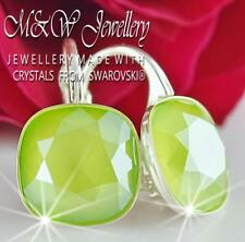 925 STERLING SILVER EARRINGS 10MM FANCY STONE - LIME CRYSTALS FROM SWAROVSKI®