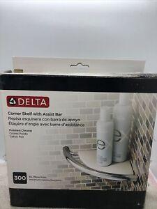 Delta Corner Shelf With Assist Bar-Polished Chrome-Maximum 300Lbs DF702PC