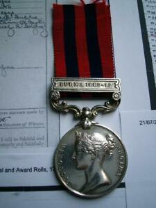 Victorian India GSM Medal Burma 1889 Pte Lewis Oxford LI of Bethnel Green London