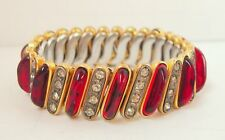 Vintage Carmen Sweetheart Expansion Bracelet D.F.B Ruby Red & Rhinestone Gold P