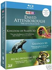 David Attenborough 3D Collection (Blu-ray 3D)~~~Plants/Galapagos/Monsters~~~NEW