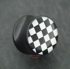 Checker Plug piercing oreja arete Old School túnel 8mm racing style libre de metal