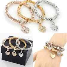 3pcs Fashion Silver Gold Crystal Bracelet Women Charm Cuff Bangle Jewelry Gift +
