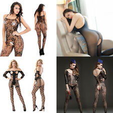 Womens Sexy Floral Crotchless Fishnet Body Stocking Body Suit Lingerie Nightwear