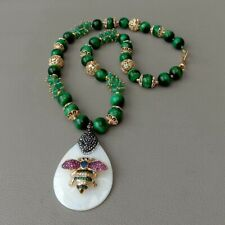 """23"""" Green Tiger Eye Agate Necklace White Shell Cz insect Pendant"""