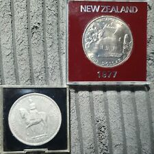 1953 British 5 Shilling Coin  +  1977 New Zealand Silver Jubilee Coin