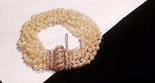 Vintage Ciner Rhinestone Faux Pearl Bracelet Stunning ! Large Wrist!