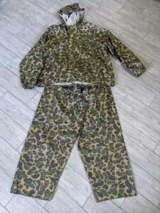 vintage CABELAS pvc rain 2pc SUIT jacket pants FROGSKIN camouflage XL hunting