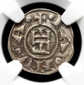 ITALIAN STATES, Republic of Genoa. Silver Denaro, 1139-1339, NGC AU