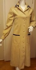 Vera Maxwell for I. Magnin, Beige, Ultra-Suede, Lace trim, Coatdress, (Sz Med.)