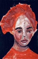 Original Outsider Art Portrait Oil Painting Quarantine Hair Katie Jeanne Wood