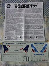 B737-200 British Airways/AIR FRANCE 1/144 SCALE DECALS et instructions seulement