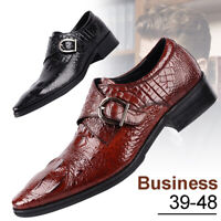 Men British Crocodile Casual Shoes Leather Dress Oxfords Business Formal Shoes