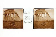 Paestum Temple de Gérés Grec Italie Italia Plaque stéréo 1900
