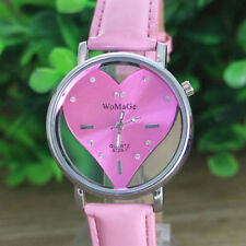WoMaGe Hollow Love Passion Heart Shape Dial Pink PU Leather Womens Wrist Watch