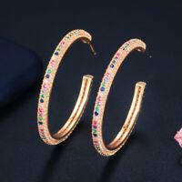 Yellow Gold Cubic Zirconia Micro Pave Rainbow Crystal Big Circle Hoop Earrings