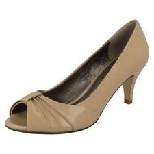 Zapatos de tacón de mujer peep toes color principal beige