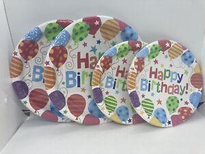 DG Home Happy Birthday Balloon Print Paper Party Plates ~ 32 Plates