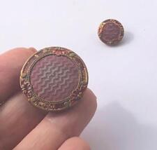 Antique Red Enamel Painted Buttons Set of 2 Brass One Large One Small Vintage