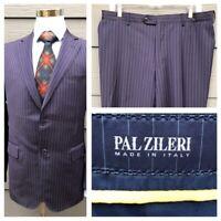 Pal Zileri Men's Blue Striped 100% Wool Suit Coat Size 42 / Pant 34 x 32 - Italy