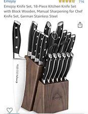 Emojoy Knife Set, 18-Piece Kitchen Knife Set with Block Wooden, Manual KC/KS13
