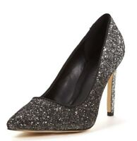 BNWT Wide Fit So Fabulous Glitter Ombre Black Silver Stiletto Heels Size 6