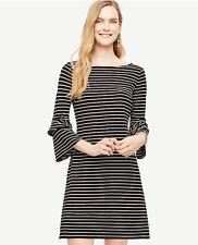 Ann Taylor - Size 8 Black Striped Ponte Flare Sleeve Dress $129.00 (U122)