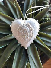 Margaret Furlong Heart ornament White Bisque Porcelain Lace Edge 2 1/2�