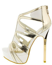 Strappy Metallic Booties Peep Toe Stiletto High Heel Platform Sandals Pumps H71