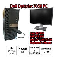 Dell Optiplex 7050 i7 16GB RAM 256GB SSD Win10 Desktop Office Computer U2410 LCD