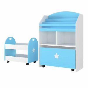 Homfa Kinderregal Bücherregal mit Aufbewahrungsboxen und Wagen Spielzeugkiste