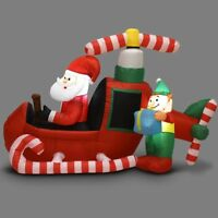 6' Christmas Decoration Inflatable Santa Claus Flying Airplane Lighted Outdoor