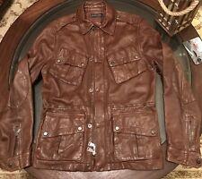 Ralph Lauren Black Label 100% Leather Gent's Moto Biker Jacket Size Medium Brown