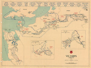 VII Corps US Army Military War Map D-Day - VE Day Battle of the Bulge Print WWII