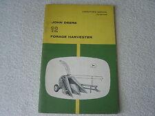 JOHN DEERE MODEL 12 FORAGE HARVESTER OPERATOR MANUAL
