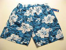 NEW Mens Swim Trunks Shorts L Drawstring Blue Floral Print Mesh Lining $40 NWT