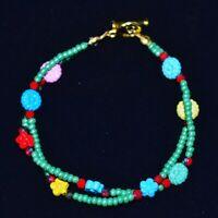 Handmade Multi Color Metal Flower And Green Seed Bead Bracelet