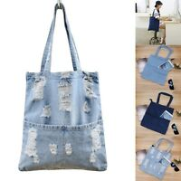 Ladies Designer Large Womens Denim Jeans Style Tote Shoulder Bag Handbag Satchel