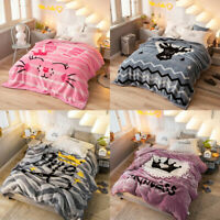 Double Layer Embossed Blanket Fluffy Warm Throw Super Soft Flannel Winter Bed