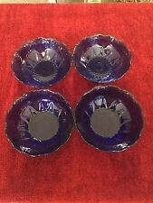 Set of 4  Vintage Bowls - Sapphire Cobalt Blue by Cristal D'Arques-Durand