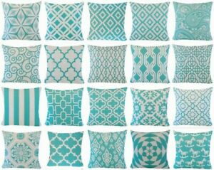 """Throw PILLOW COVER Turquoise Blue 2-Sided Decorative Cushion Case 18x18"""" Outdoor"""