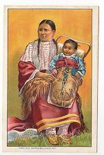 INDIEN indienne et son enfant costume carte éditée pour BUFFALO BILL'S WILD WEST