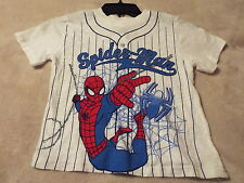 SPIDERMAN Boy's Size 7 Tee White With Blue Stripes And Spiderman On The Front