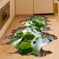 3D Stream Floor/Wall Sticker Removable Mural Decals Vinyl Living Room Decor.,