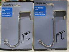 Lot of 2 Closet Essentials Over the Door Hook Chrome Plated